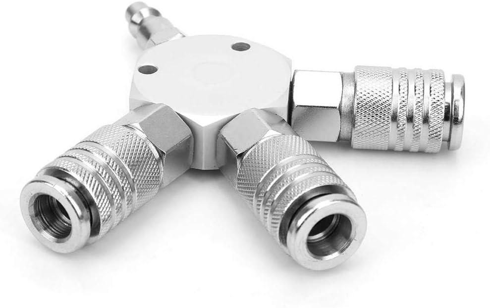 Collecteur dair /à 3 voies Connecteur rapide pneumatique S/éparateur de tuyau dair avec 3 coupleurs en acier et fiche m/âle NPT 1//4