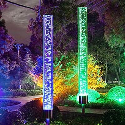 2pcs Garden Solar Lights Outdoor Solar Acrylic Bubble RGB Color Changing Solar Powered for Garden Patio Backyard Pathway Decoration