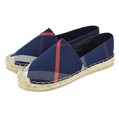 Tengyu Women's Espadrilles Flats Original Slip On Loafer Shoes Classic Canvas Comfort Alpargatas (US8=EU39=24.5CM, Blue)