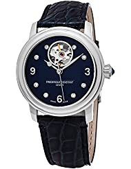 Frederique Constant Womens Ladies Automatic Stainless Steel and Leather Casual Watch, Color:Blue (Model: FC...
