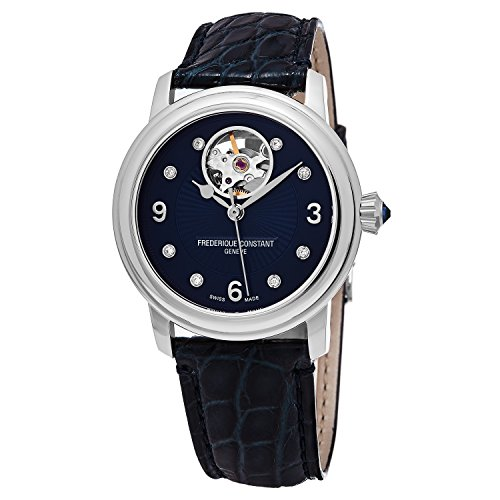 Louis Blues Heart Watch (Frederique Constant Women's 'Ladies' Automatic Stainless Steel and Leather Casual Watch, Color:Blue (Model: FC-310HBAND2P6))