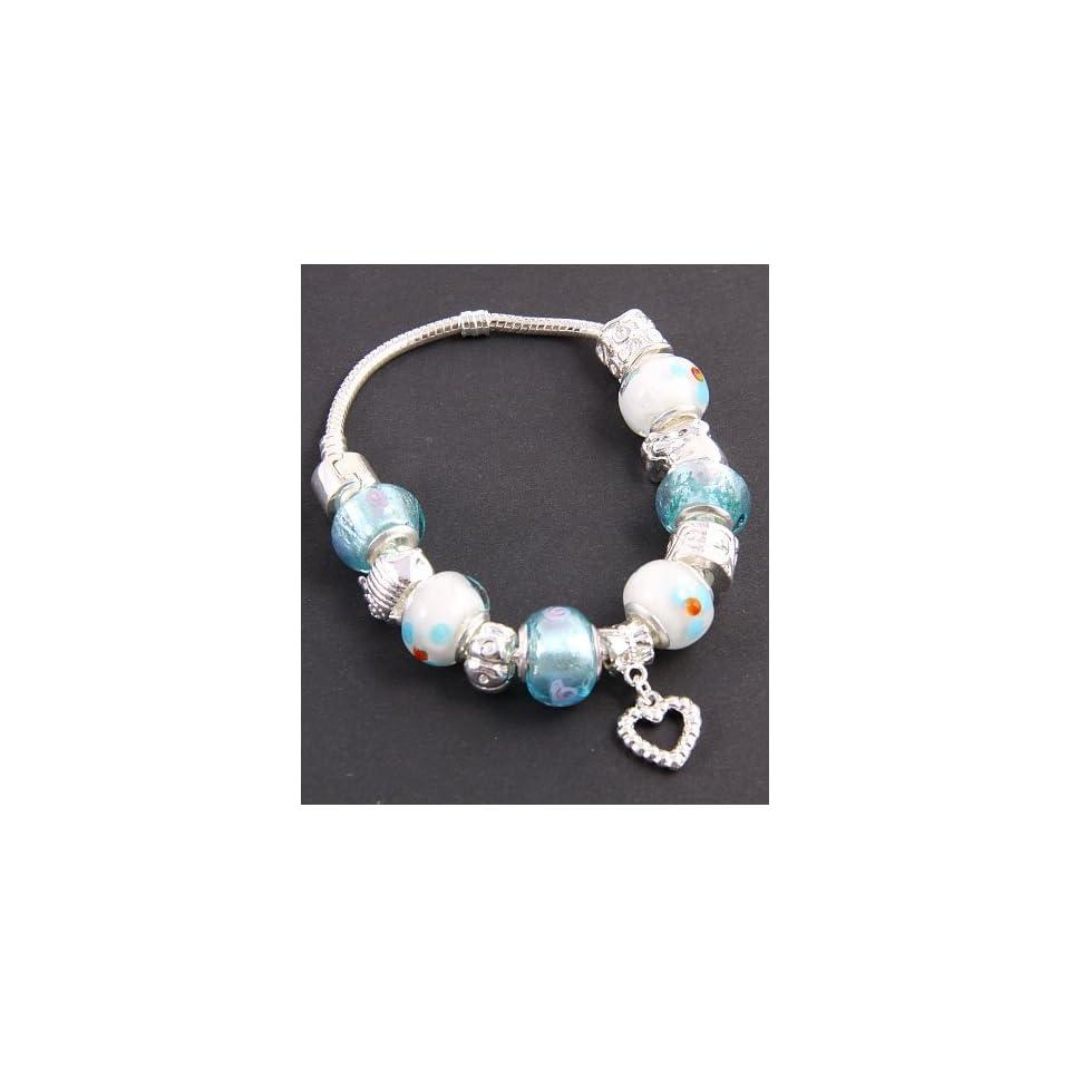 Fashion Jewelry Desinger Murano Glass Bead Bracelet with Pattern Light Blue