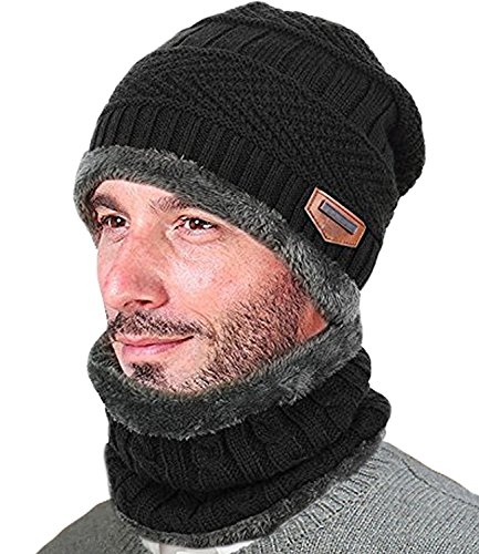 Pinaniu Hat Scarf Set Knitted Hat SoftMens Winter Beanie Hat Scarf Set Warm Thick Knit Skull Cap Hat and Infinity Scarf Gift Set