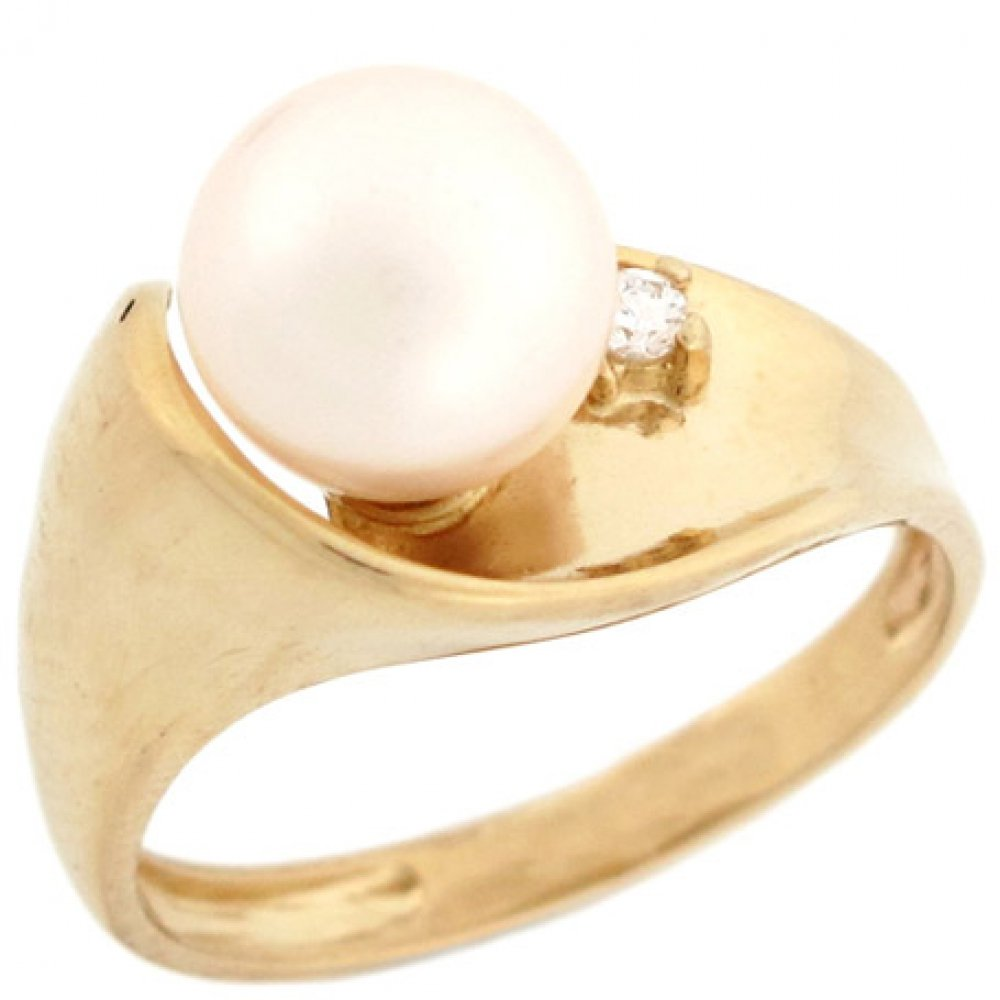 14k Solid Real Gold CZ & Freshwater Cultured Pearl High Polish Unique Fancy Ring Jewelry by Jewelry Liquidation