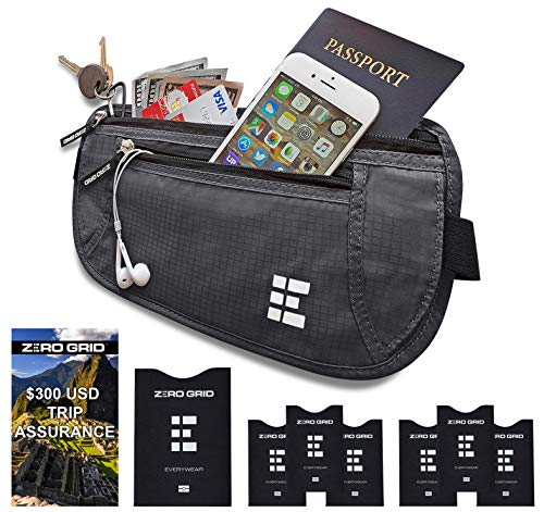 Zero Grid Money Belt w/RFID Blocking - Concealed Travel Wallet & Passport Holder (Concealed Wallet)