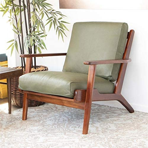 ASHCROFT Mid Century Modern Kalley Green Leather Accent Chair