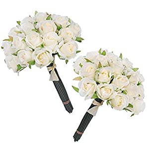 Easin Wedding Flower Artificial Flowers for Room Home Hotel Party Event Decoration Silk Mini Rose Bud 2 Set (Ivory) 79