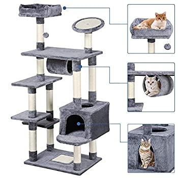 Yaheetech 62-inch Cat Tree Condo with Scratching Post Flush Perch and Tunnel, Cat Tower Furniture Gray