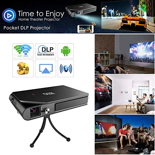 Mini Pocket LED DLP Wireless 3D Bluetooth Projector Smart Android WiFi Airplay HD Home Theater Projector Built-in Battery HDMI USB Audio SD Outdoor Portable Pico 1080P for Phone Tablet Camera PS4