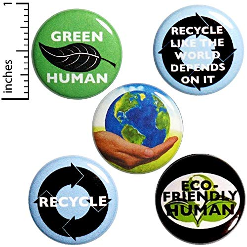 Recycling Button 5 Pack Green Human Eco-Friendly Backpack Jacket Pins 1