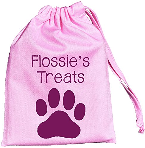 SUPPLIED Cotton Personalised Pink Treat EMPTY Dog Bag Bag Sizes 3 Drawstring BxqICz