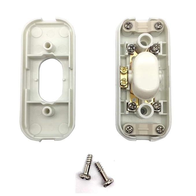 FUJIE Interrupteur Bi-polaire 6A 250V fil Electrique Souple Interrupteur pour Lampe Blanc