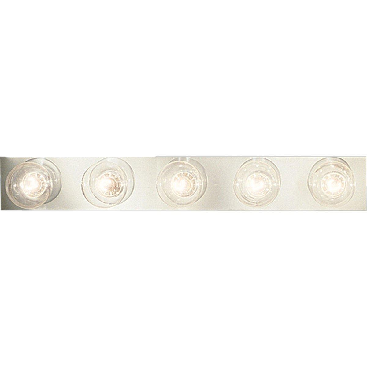 Progress Lighting P3335-15 5-Light Broadway Lighting Strips with Sockets On 6-Inch Centers, Polished Chrome
