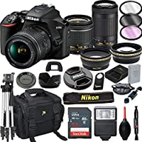 Nikon D3500 DSLR Camera with 18-55mm VR and 70-300mm VR Lenses + 32GB Card, Tripod, Flash, and More (21pc Bundle)
