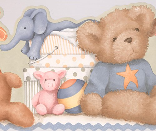 Baby Room Wallpaper Borders (Teddy Bear Plush Toys on the Shelf Playtime Beige Brown Wallpaper Border for Kids Bedroom Playroom Bathroom, Roll 15' x 9.75'')