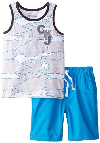 Calvin Klein Little Boys' Print Tank Top with Blue Shorts