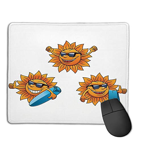 Mouse Pad Custom,Non-Slip Rubber Mousepad,Cartoon,Surf Sun Characters Wearing Shades and Surfboards Fun Hippie Summer Kids Decor Decorative,Orange White,for Laptop, Computer, PC, Keyboard,H9.8XW11.8