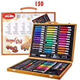Zywtrade 150 Pieces of Wooden Box Watercolor Pen Set Crayon Painting Tools Children's Drawing Art Supplies Students School Stationery