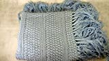 Light blue baby boy blanket crib cover afghan throw with fringes baby shower gift