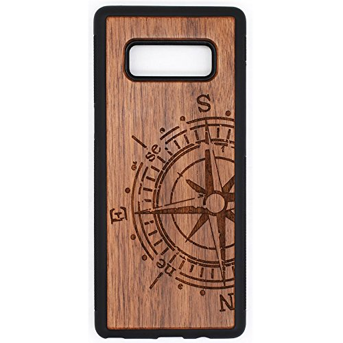 Wood Case for Galaxy Note 8, Wood Pattern [Laser Printing] Rugged [Dual Layer] High Impact Durable Back Wooden Case Cover for Samsung Galaxy Note8(Compass) (Note8-Compass)