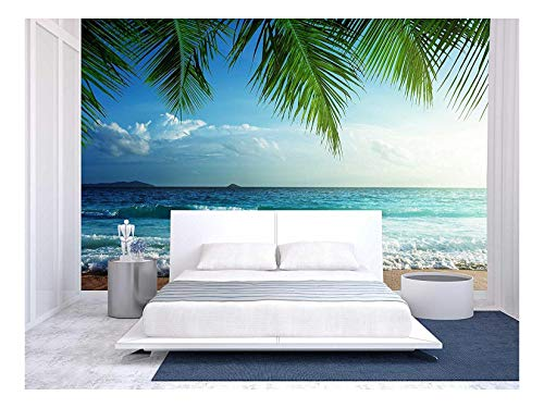 wall26 - Sunset on Seychelles Beach - Removable Wall Mural | Self-Adhesive Large Wallpaper - 100x144 inches (Beach Mural)