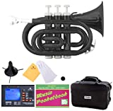 Mendini B-Flat Pocket Trumpet, Black Lacquered and Tuner, Case, Stand, Pocketbook, MPT-BK+SD+PB+92D