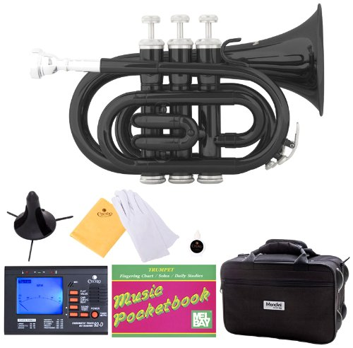 Mendini B-Flat Pocket Trumpet, Black Lacquered and Tuner, Case, Stand, Pocketbook, MPT-BK+SD+PB+92D Mendini by Cecilio