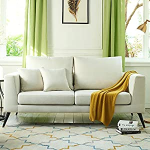 Vonanda Sofa Couch,Modern Upholstered 76.1 Inch with Classic Linen Fabric for Living Room,Creamy White