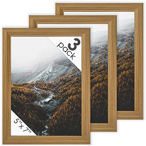 Oak Dog Frame - DecorRack 3 Picture Frame 5x7 inches, Rustic Decor Photo Frame for Document, Certificate, Baby, Family, Cat and Dog Prints, Wall or Desk Photo Display in Oak Beige Wood Design (3 Pack)