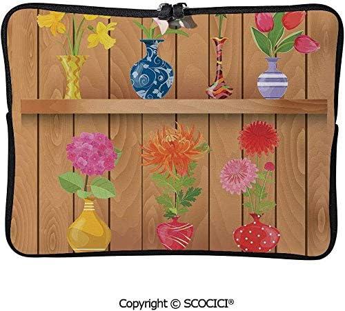 パステル調の木製の棚に色とりどりの花でガラス花瓶 PCバッグ PCケース 薄型 多機能 ウェアラブル ユニセックス ビジネス ブリーフケース 15inch