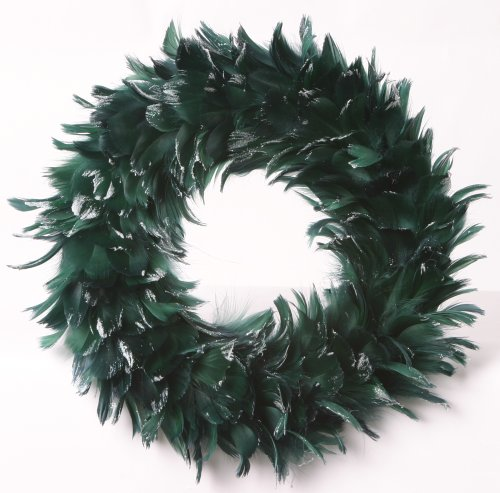 ZUCKER Goose Coquille Feather Christmas Wreath - Hunter Green/Opal (Christmas Feather Wreath)