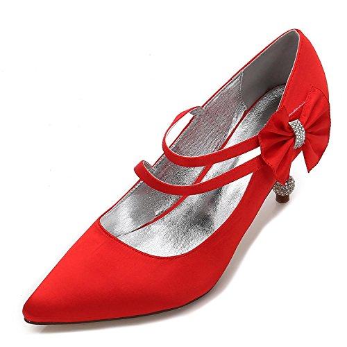 L@YC Women's Wedding Shoes Closed Toe Buckle Platform High Heels Satin/Court Shoes/17767-6 Red ieBv2TFyK