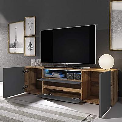 Selsey Bros - Mueble TV Minimalista/Mesa TV/Mueble para Salón/Mueble TV Moderno (con LED, Roble Dorado/Gris Brillante): Amazon.es: Electrónica