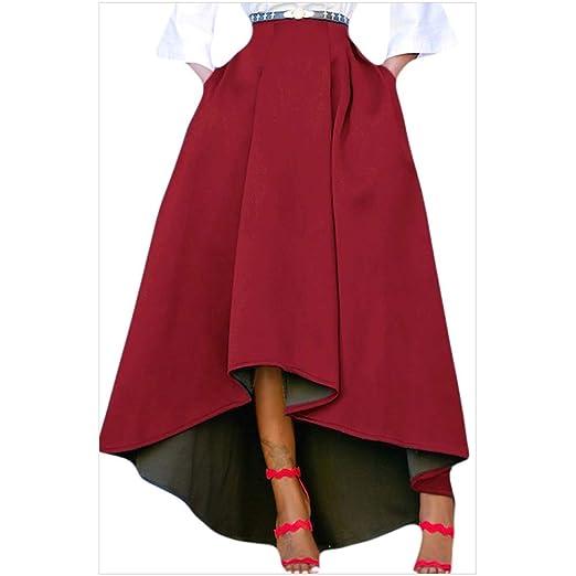 Vestido, Falda Corta Antes Largo Largo Color sólido Generosa ...