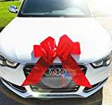 Tombo Products 23'' Red Car Bow, HUGE GLOSSY BOW with in built suction cups, PREMIUM Gift Wrap for your automobile or any other plus sized gift!