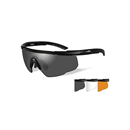 e09b54306c50 Amazon.com : Wiley X Saber Advanced Smoke Gray Clear Light Rust Lens ...