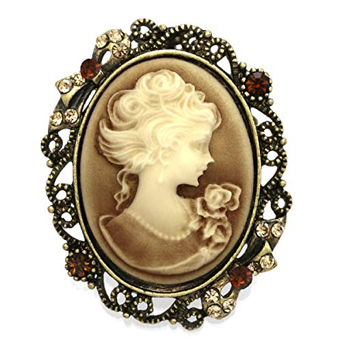 Soulbreezecollection Brown Cameo Brooch Pin Charm for Women Necklace Pendant Compatible