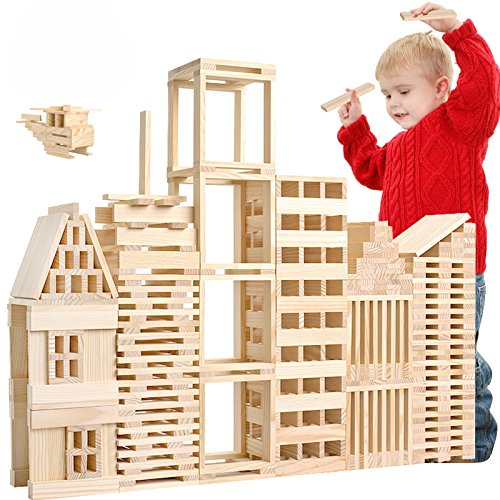 LOOBANI 200 Pcs Kids Toddlers Building Blocks Wooden Toys Set, Suitable for Boys & Girls Above 3 Years Old (200 pcs)