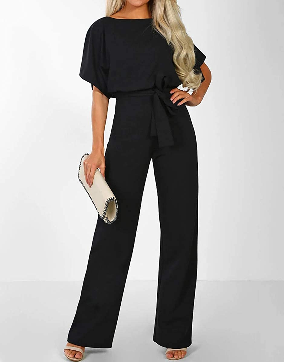 tetyseysh Womens Round Neck Batwing Sleeve Jumpsuit Wide Leg Pants Trousers Playsuit Bodysuit Romper Office Outfits