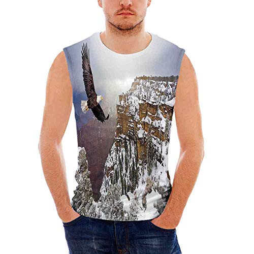 Canyon Leggings Denim (Mens Sleeveless Wildlife Decor T- Shirt,Aerial View of Bald Eagle Flying in Snow)