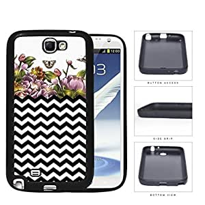 Black and White Chevron with Floral Watercolor Garden Painting Samsung Galaxy Note II 2 N7100?Rubber Silicone TPU Cell Phone Case hjbrhga1544