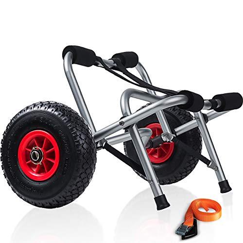 Kayak Cart Dolly Wheels Trolley - Kayaking Accessories Best for Beach Tires Transport Canoe Fishing Jon Boat Carrier Caddy Scupper Carts Trolly Roller Sit on Top Kayaks Wagon Wheel Hauler Tote Rollers (Hobie Kayak Wheels)