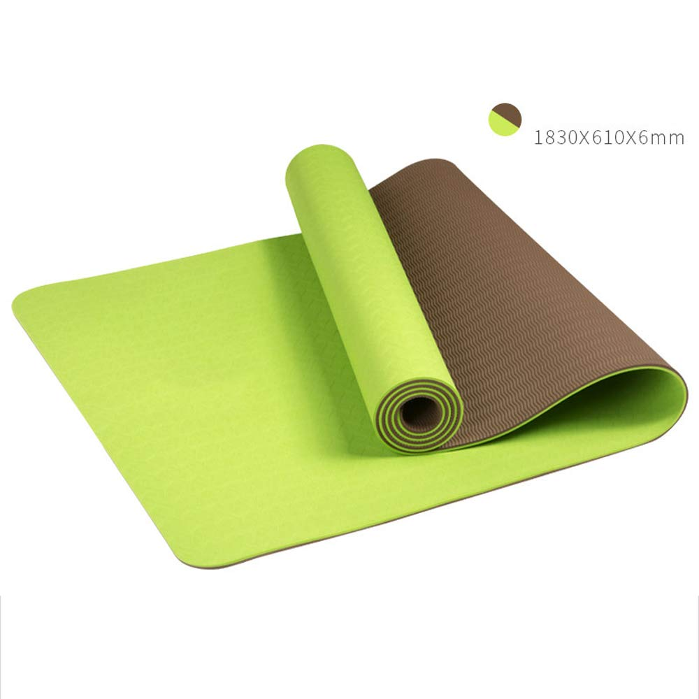 LS-Exercise Fitness Yoga Mat: Yoga Mat Thickening Widened Men and Women Beginners Fitness Multi-Function Double-Sided Non-Slip Yoga Mat [4 Color Optional]& (Color : Healthy Green)