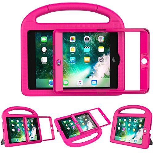 LEDNICEKER Kids Case Built-in Screen for iPad Mini 1 2 3 - Light Weight Shock Proof Handle Kidproof Friendly Convertible Stand Child Case for iPad Mini 1st 2nd 3rd Generation - Magenta/Rose