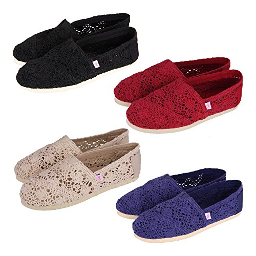 GreaterGood Gregs Pink Ribbon Crocheted Shoes Red Kl2TAIqE97