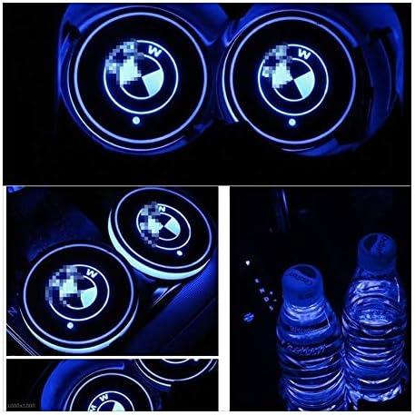 7色はBM-W用マットLEDカップマット車の雰囲気ランプデコレーションライト車のロゴのカップホルダーパッド2PCS USB充電を変更します