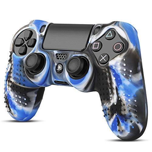 (TNP PS4 / Slim/Pro Controller Skin Grip Cover Case Set - Protective Soft Silicone Gel Rubber Shell & Studded Anti-Slip Thumb Stick Caps for Sony Playstation 4 Controller Gaming Gamepad (Mystic Blue))