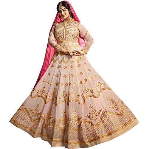 (Faux Georgette Fabric Heavy Embroidered Designer Long Anarkali Salwar Suit (Cream,)