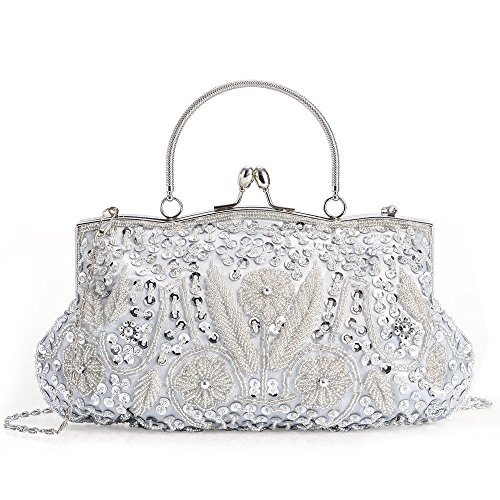 LONGBLE Women's Vintage Style Beaded Sequined Evening Bag Wedding Party Handbag Clutch Purse Kissing Lock … (Silver)