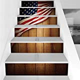 Stair Stickers Wall Stickers,6 PCS Self-adhesive,American Flag Decor,Usa Design on Vertical Lined Retro Wooden Rustic Back Glory Country Image,Blue Red,Stair Riser Decal for Living Room, Hall, Kids Ro